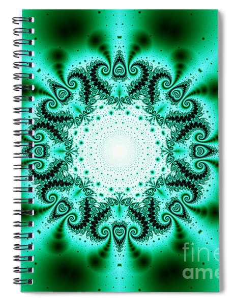 Green And Black Fractal Kaleidoscope Spiral Notebook