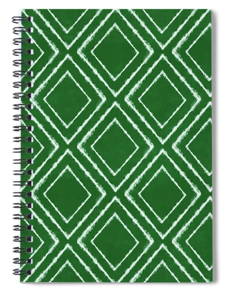 Green And White Inky Diamonds- Art By Linda Woods Spiral Notebook