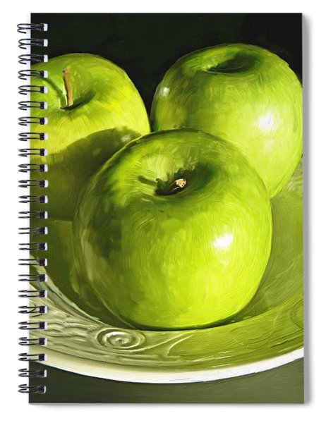 Green Apples In A White Bowl Spiral Notebook