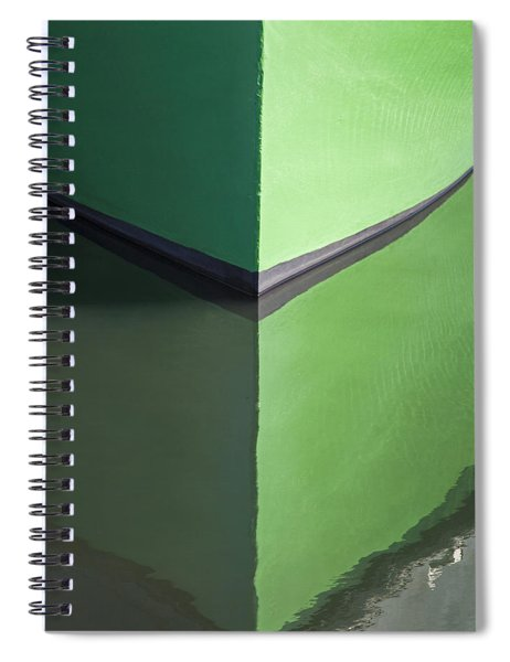 Green Boat Reflection Spiral Notebook