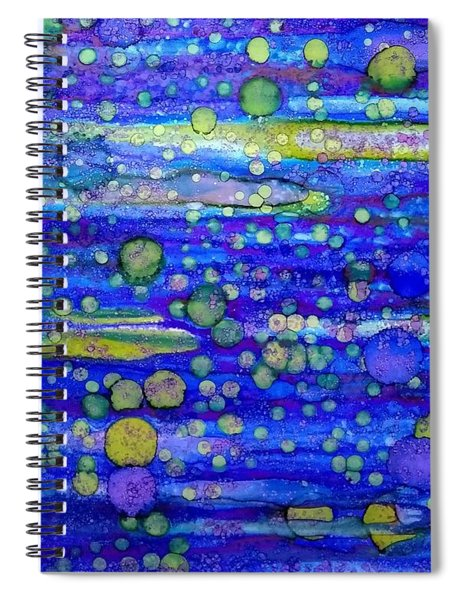 Green Bubbles In A Purple Sea Spiral Notebook