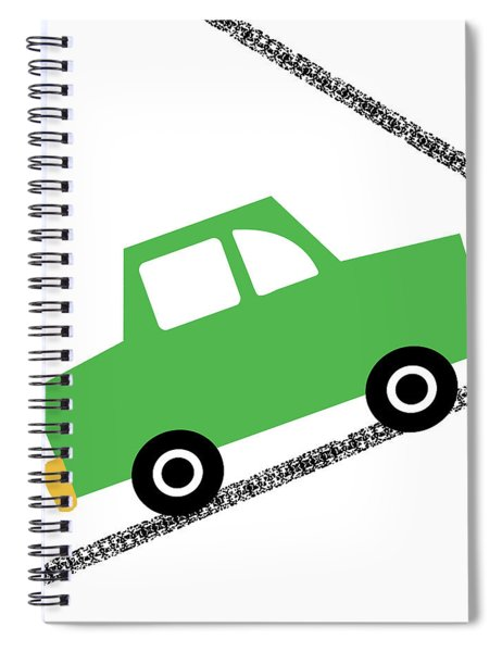 Green Car On Road- Art By Linda Woods Spiral Notebook
