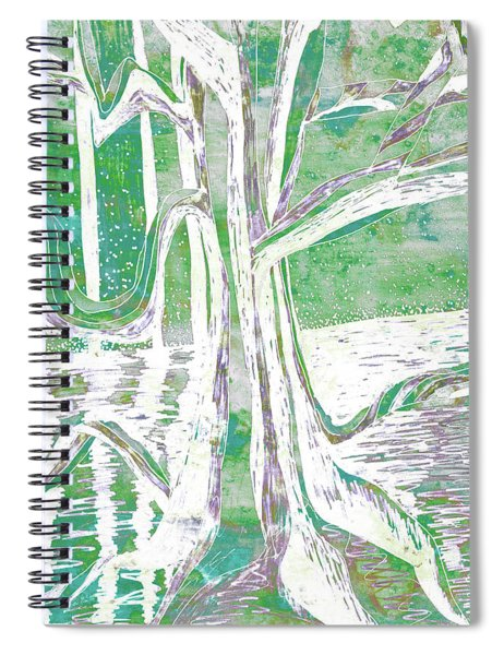 Green-grey Misty Morning River Tree Spiral Notebook