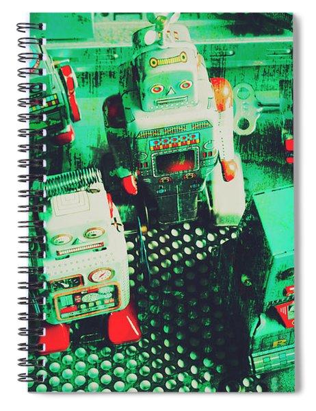 Green Grunge Comic Robots Spiral Notebook