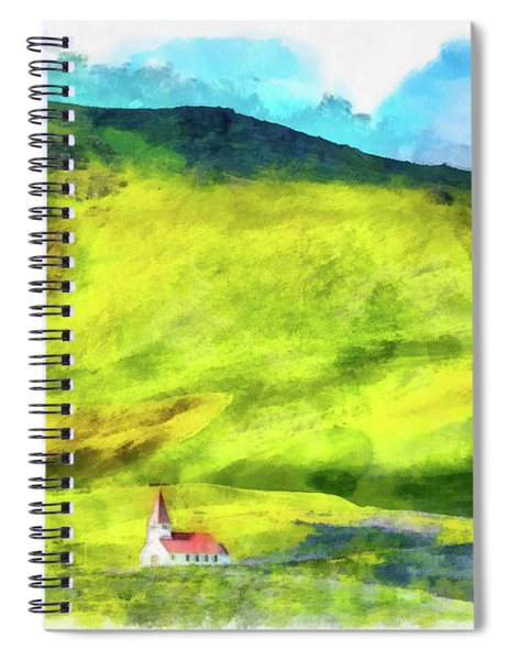 Green Iceland Aquarell Painting Vik Church And Green Hills Spiral Notebook