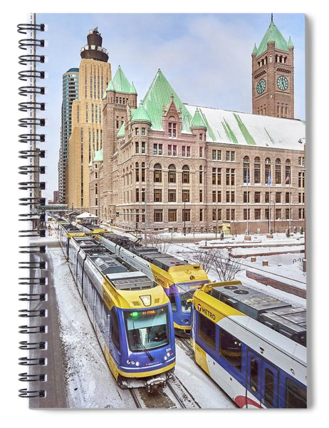 Green Line Train Leaves Minneapolis City Hall Spiral Notebook