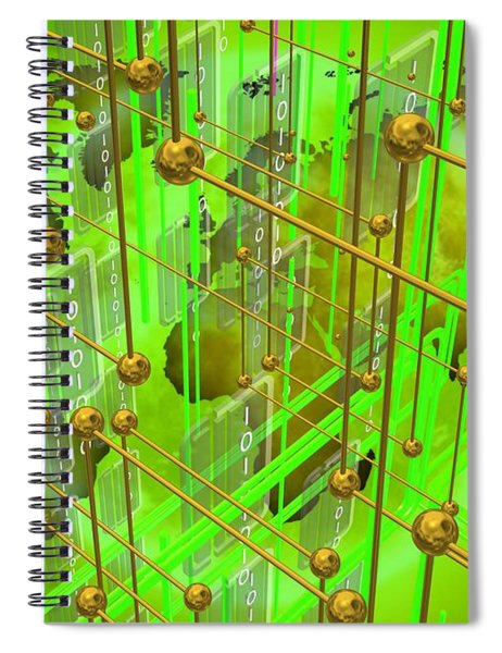 Green Map Of The Connected World Spiral Notebook