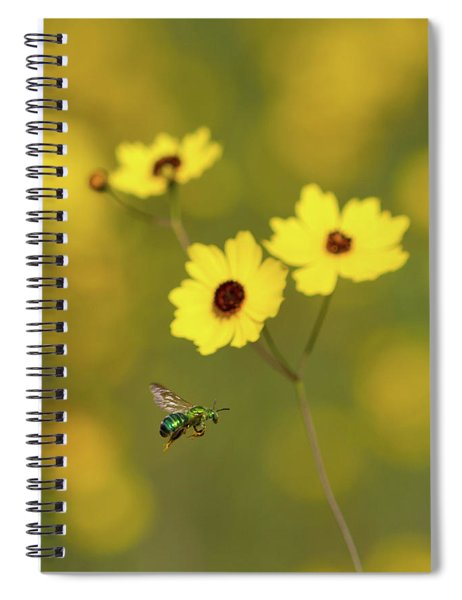 Green Metallic Bee Spiral Notebook