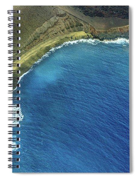 Green Sand Beach Aerial Spiral Notebook