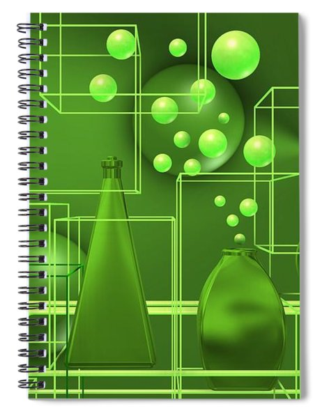 Green Still Life With Freen Bubbles Spiral Notebook