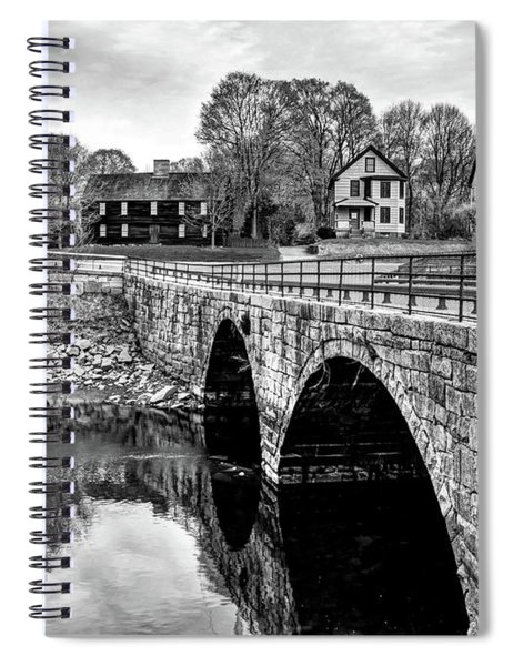 Green Street Bridge In Black And White Spiral Notebook