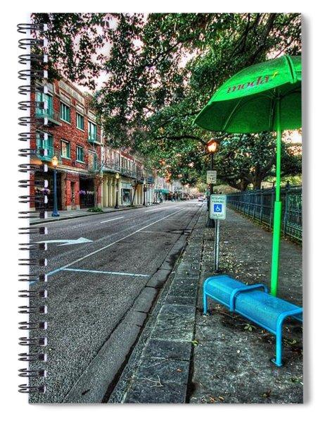 Green Umbrella Bus Stop Spiral Notebook