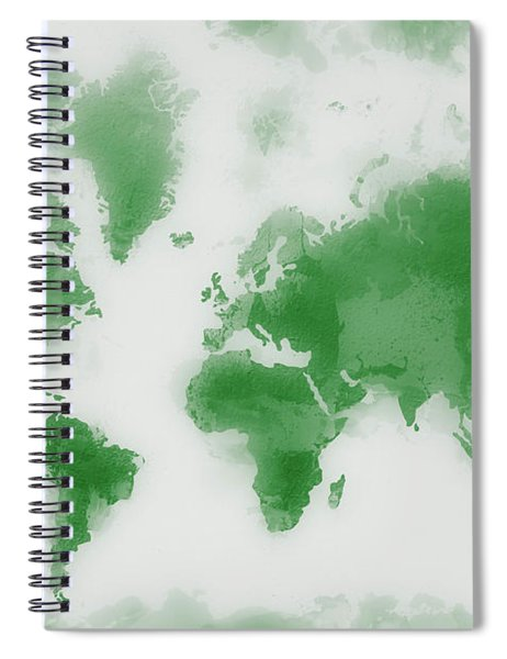Green World Map Spiral Notebook