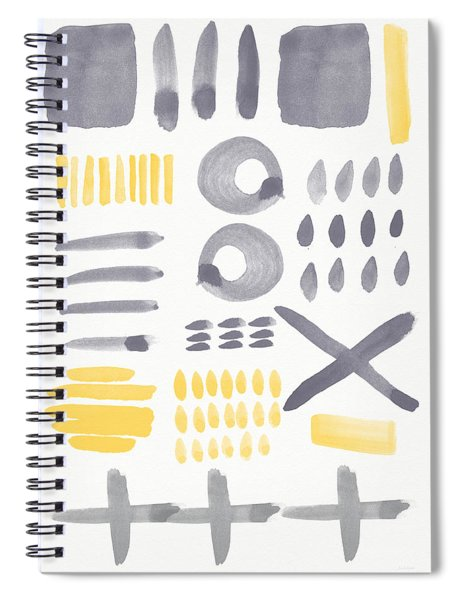 Grey And Yellow Shapes- Abstract Painting Spiral Notebook