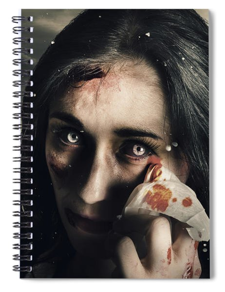 Grim Face Of Horror Crying Tears Of Blood Spiral Notebook