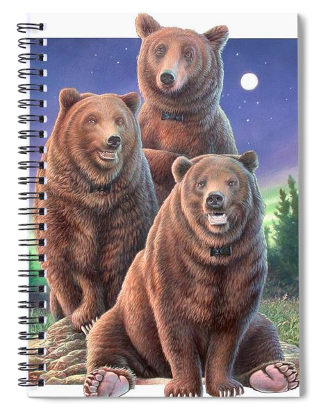 Grizzly Bears In Starry Night Spiral Notebook