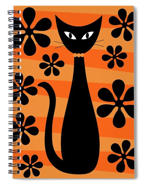 Groovy Flowers With Cat Orange And Light Orange Spiral Notebook
