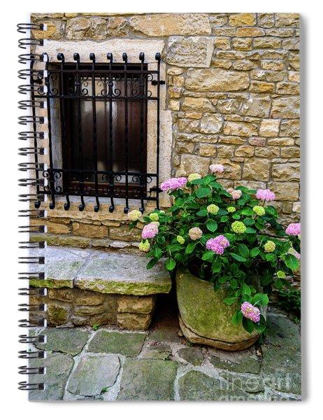 Groznjan Istrian Hill Town Stonework And Flowerpot - Istria, Croatia Spiral Notebook