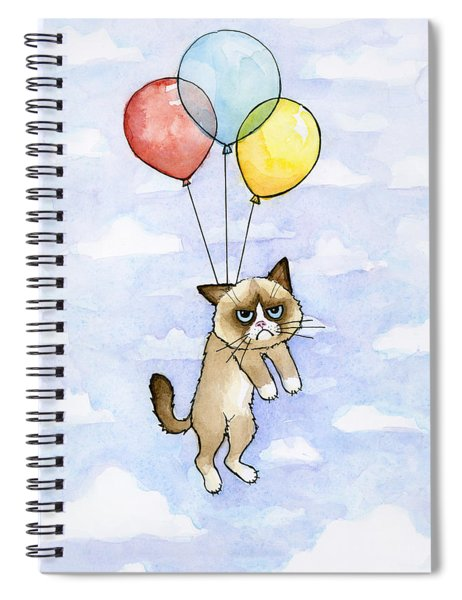 Grumpy Cat And Balloons Spiral Notebook