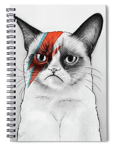 Grumpy Cat As David Bowie Spiral Notebook