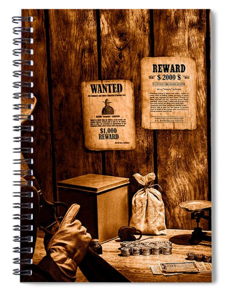 Guarding The Payroll - Sepia Spiral Notebook