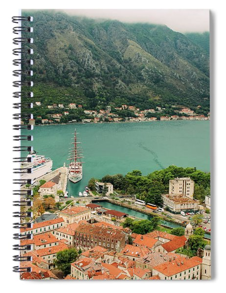 Gulf Of Kotor With Cruise Liner Spiral Notebook