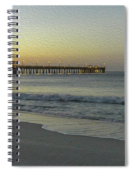Gulf Shores Alabama Fishing Pier Digital Painting A82518 Spiral Notebook