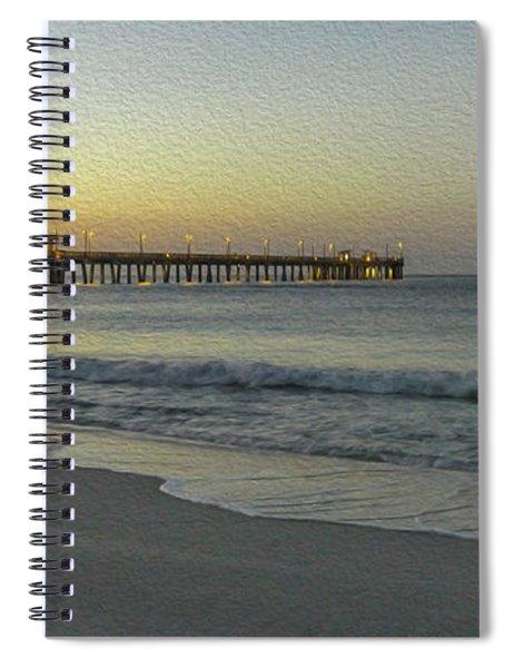Gulf Shores Alabama Fishing Pier Digital Painting A82518 Spiral Notebook by Mas Art Studio