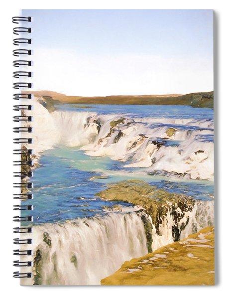 Gullfoss Waterfalls Pastel 2 Spiral Notebook
