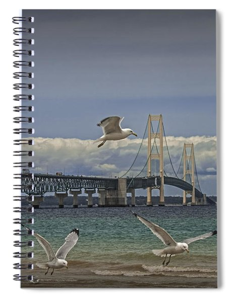 Gulls Flying By The Bridge At The Straits Of Mackinac Spiral Notebook