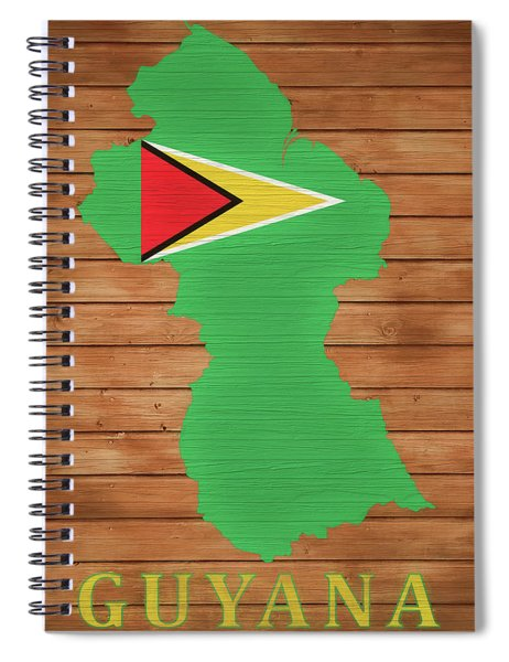 Guyana Rustic Map On Wood Spiral Notebook