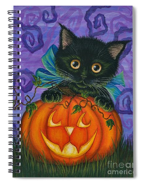 Halloween Black Kitty - Cat And Jackolantern Spiral Notebook