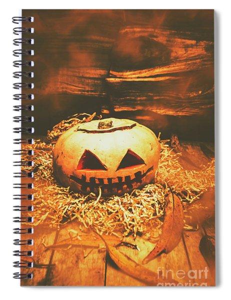 Halloween In Fall. Still Life Pumpkin Head Spiral Notebook