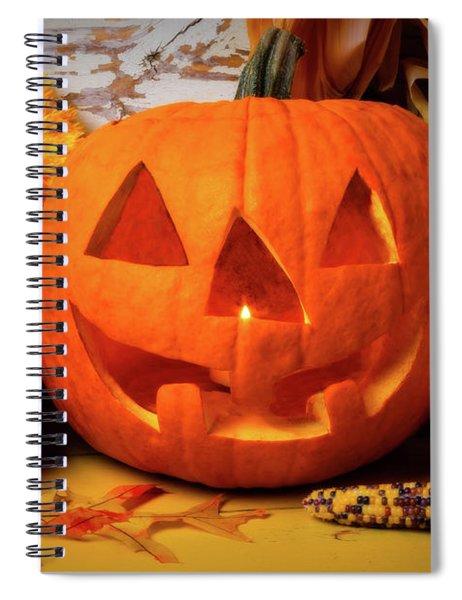 Halloween Pumpkin Smiling Spiral Notebook