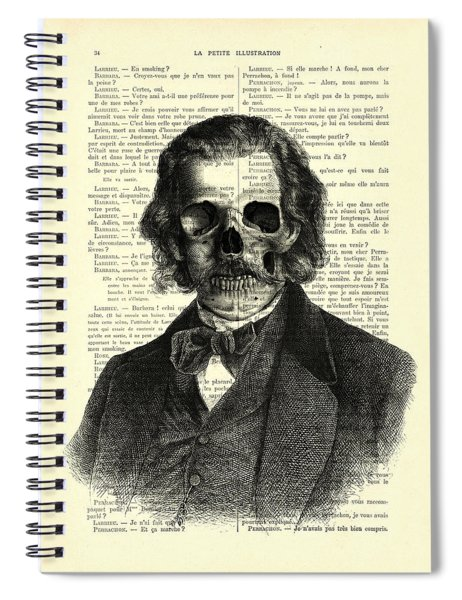 Halloween Skull Portrait In Black And White Spiral Notebook