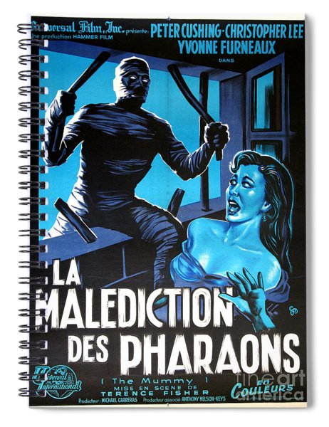 Hammer Movie Poster The Mummy La Malediction Des Pharaons Spiral Notebook