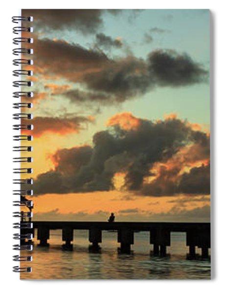 Hanalei Pier Sunset Panorama Spiral Notebook