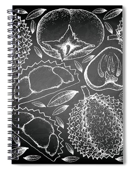 Hand Drawn Of Durian And Persimmon On Chalkboard Background Spiral Notebook