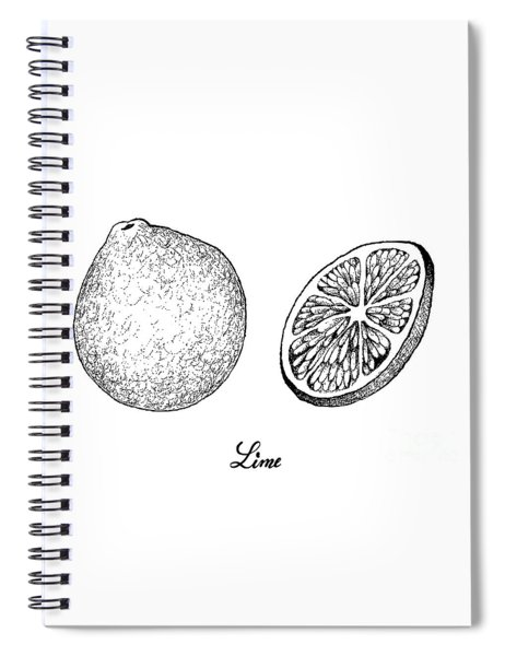 Hand Drawn Of Fresh Limes On White Background Spiral Notebook