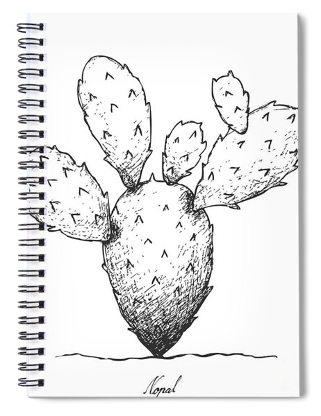 Hand Drawn Of Nopal Cactus On White Background Spiral Notebook