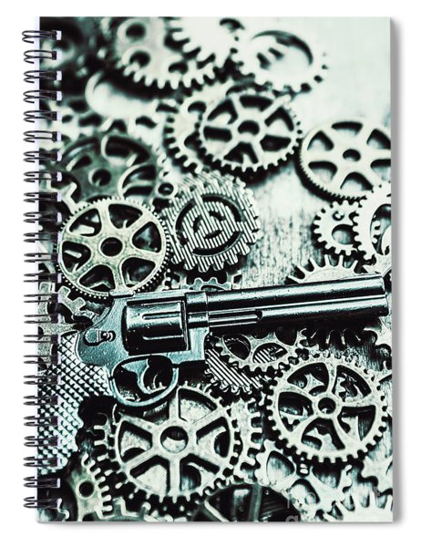 Handguns And Gears Spiral Notebook
