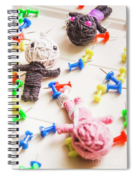 Handmade Knitted Voodoo Dolls With Pins Spiral Notebook