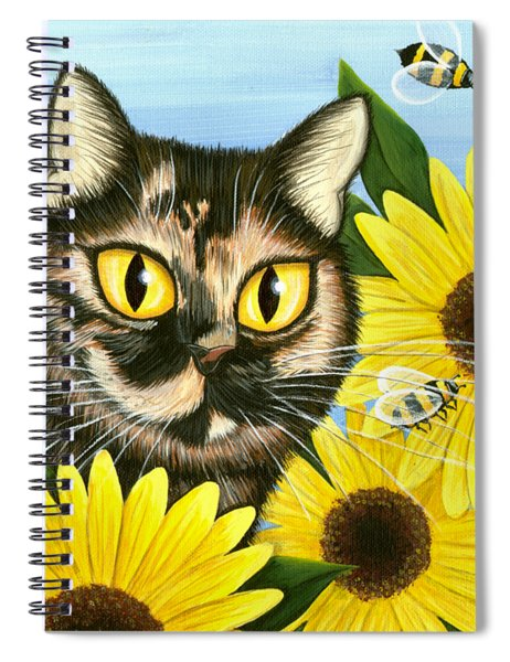 Hannah Tortoiseshell Cat Sunflowers Spiral Notebook