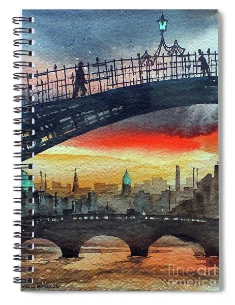 Hapenny Bridge Sunset, Dublin...27apr18 Spiral Notebook