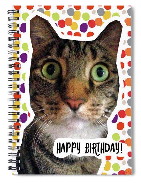 Happy Birthday Cat- Art By Linda Woods Spiral Notebook
