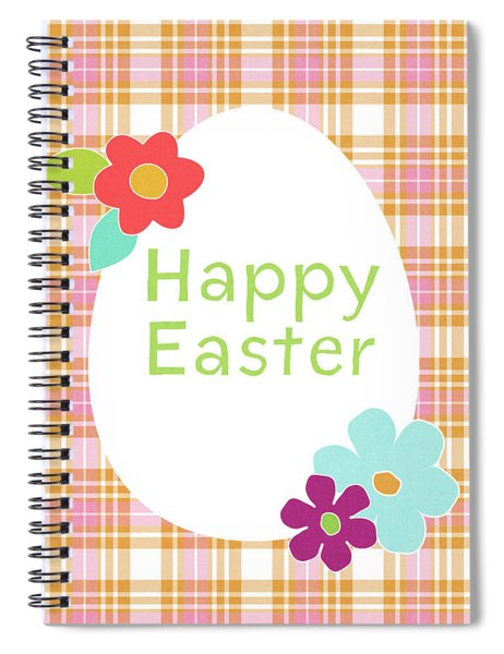 Happy Easter Egg Pink Plaid- Art By Linda Woods Spiral Notebook