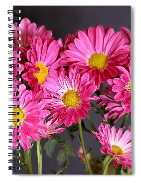 Happy Face Pink Mums Spiral Notebook
