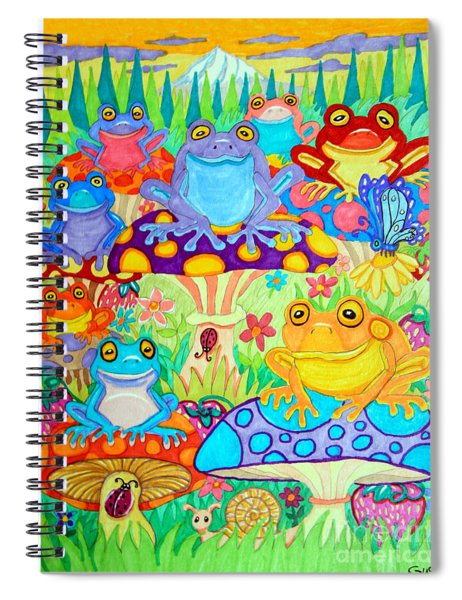 Happy Frogs In Mushroom Valley Spiral Notebook