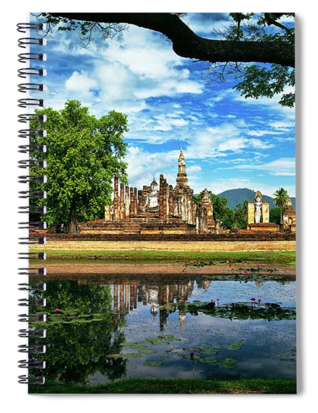 Happy Thoughts At Wat Mahathat In Sukhothai, Thailand, Southeast Asia Spiral Notebook