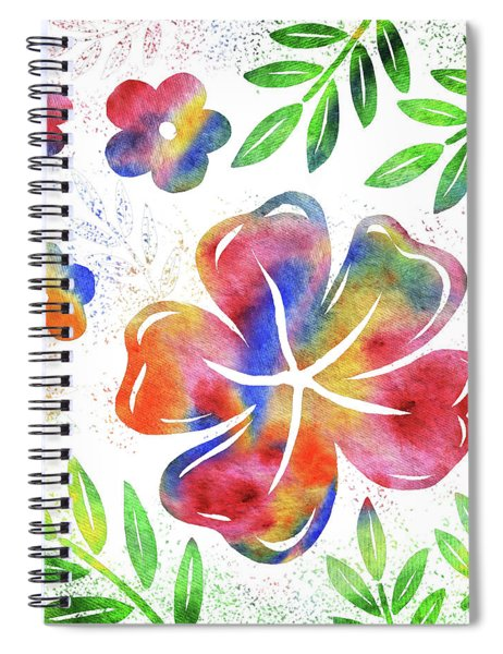 Happy Watercolor Flowers Spiral Notebook